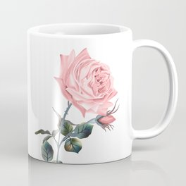 Beautiful vector pink rose in vintage antique high detailed style Coffee Mug
