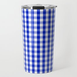 Cobalt Blue and White Gingham Check Plaid Squared Pattern Travel Mug
