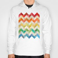 quilt Hoodies featuring Chevron Rainbow Quilt by Rachel Caldwell