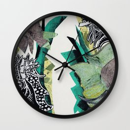 Monoprint Collage Wall Clock