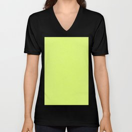Dense Melange - White and Fluorescent Yellow Unisex V-Neck