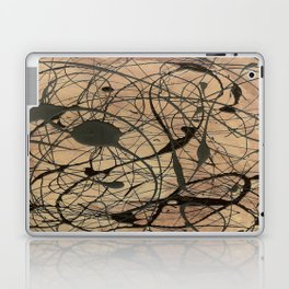 Pollock Inspired Abstract Black On Beige Corbin Art Contemporary Neutral Colors Laptop & iPad Skin