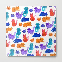Fluffy Watercolor Cat Pattern Metal Print