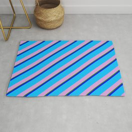 Blue, Deep Sky Blue, Plum, and Green Colored Lined Pattern Rug