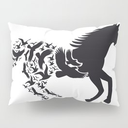 Black horse with flying birds Pillow Sham