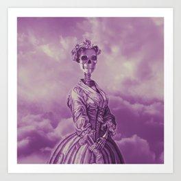 Lady Bonehead VINTAGE PURPLE / Skeleton portrait Art Print