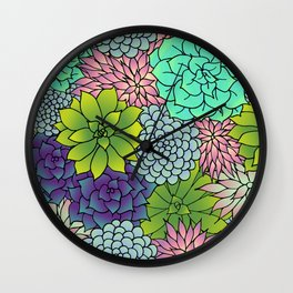 Succulent Pattern Wall Clock