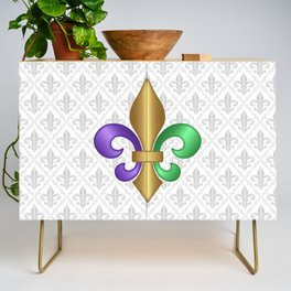 Purple Green and Gold Fleur-de-Lis on Gray Pattern Credenza