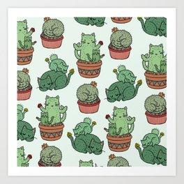 Cacti Cat pattern Art Print