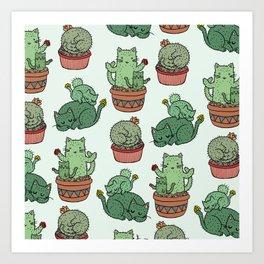 Cacti Cat pattern Kunstdrucke