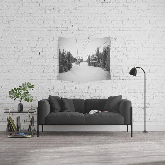 Ski Chair Lift B&W \\ Deep Snow Season Pass Dreams \\ Snowy Winter Mountains Landscape Photography Wall Tapestry