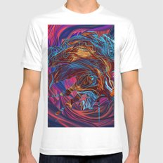 Abstract Profile White MEDIUM Mens Fitted Tee