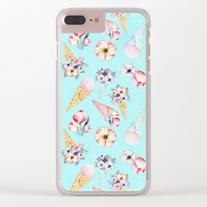 Pink & Teal Summer Fun Flower Ice Cream Cone - Pattern Clear iPhone Case