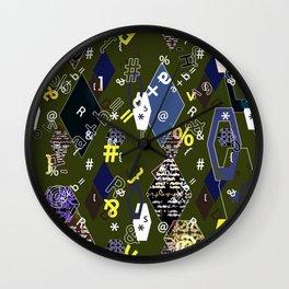 Children's school pattern. Collage. Wall Clock