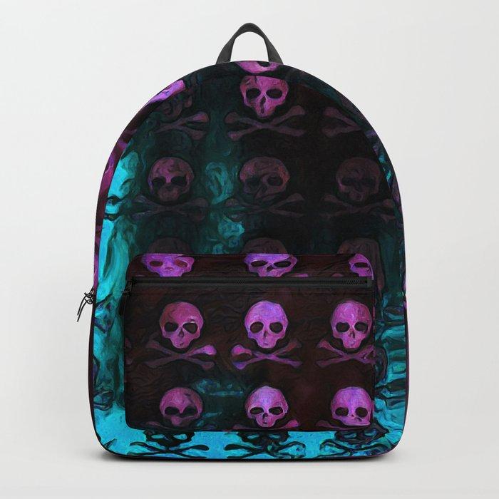 Deaths Frozen Blanket Skulls: Pink And Blue Backpack