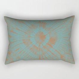 Turquoise and Earth Toned Shibori Tie Dye Rectangular Pillow