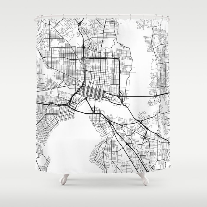 Indianapolis Map, USA - Black and White Shower Curtain