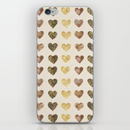 Gold and Chocolate Brown Hearts iPhone Skin