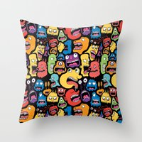 monster Throw Pillows featuring Monster Faces Pattern by Chris Piascik