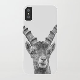 Black and white capricorn animal portrait iPhone Case