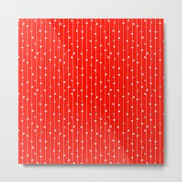 Christmas Baubles on Festive Tinsel Streamers Vivid Red Metal Print