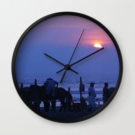 Horses on an Acapulco Beach Wall Clock