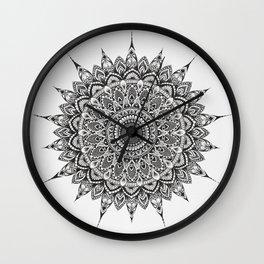 Meditation Mandala - Black Ink Wall Clock