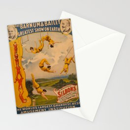 Vintage poster - Circus Trapeze Act Stationery Cards