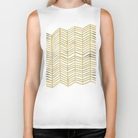 sandra dieckmann Biker Tanks featuring Gold Herringbone by Cat Coquillette
