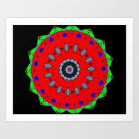 Lovely Healing Mandala  in Brilliant Colors: Black, Maroon, Green, Red, Royal Blue, and Gray Art Print