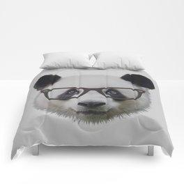 Geek Panda with Glasses Comforters