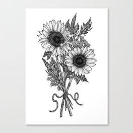 Black & White Stippling Dot Work Sunflower Floral Print Canvas Print