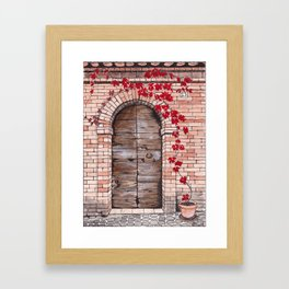 Weathered wooden door with red vine plant Framed Art Print