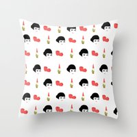 amelie Throw Pillows featuring Amelie by Qc Illustrations