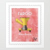 fargo Art Prints featuring Fargo Stamp by Klufer