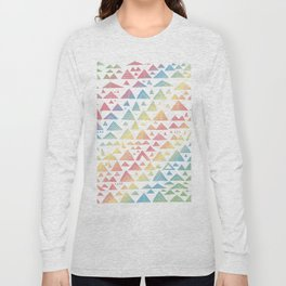 mountains, low hills, tents, trees rainbow Long Sleeve T-shirt