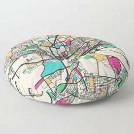 Colorful City Maps: Johannesburg, South Africa Floor Pillow