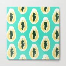 papaya pattern yellow blue Metal Print