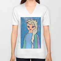frozen elsa V-neck T-shirts featuring Elsa! by Izzy Tan