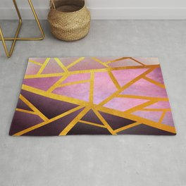 Textured Pink Geometric Gradient With Gold Rug