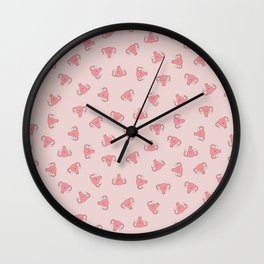 Crazy Happy Uterus in Pink, small repeat Wall Clock