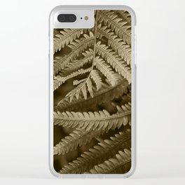Copper Penny Ferns Glisten Clear iPhone Case