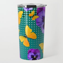 TEAL PURPLE PANSIES BUTTERFLY OPTIC ART Travel Mug