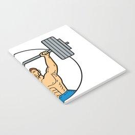 Weightlifter Lifting Barbell Mono Line Art Notebook