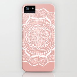 White Flower Mandala on Rose Gold iPhone Case
