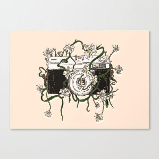 Vintage Camera Blooms Canvas Print