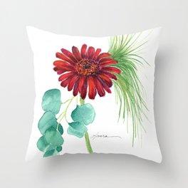 Red Christmas Gerber Daisy Throw Pillow