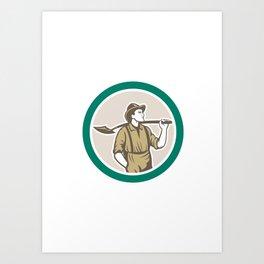 Prospector Miner With Shovel Circle Retro Art Print