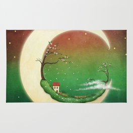 fantasy moon and house and cherry tree Rug