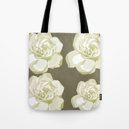 Gray,White Rose background Tote Bag
